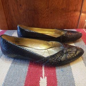 Dolce vita black patent snake flats